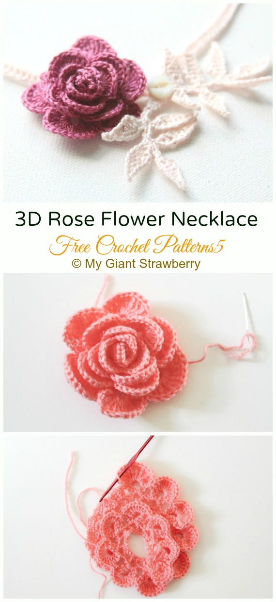 Easy 3D Rose Flower Necklace Crochet Free Pattern - #Crochet; 3D #Rose; Flowers Free Patterns