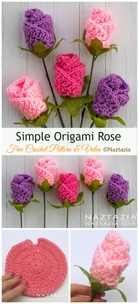 Simple Origami Rose Crochet Free Pattern&Video - #Crochet; 3D #Rose; Flowers Free Patterns