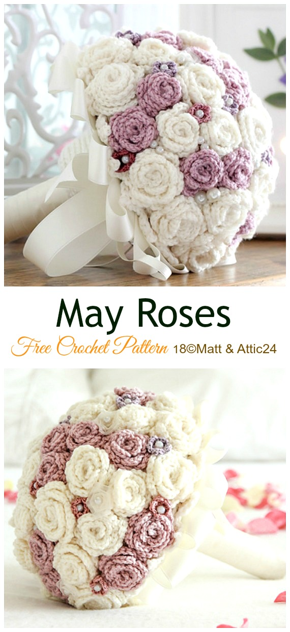 May Roses Crochet Free Pattern - #Crochet; 3D #Rose; Flowers Free Patterns