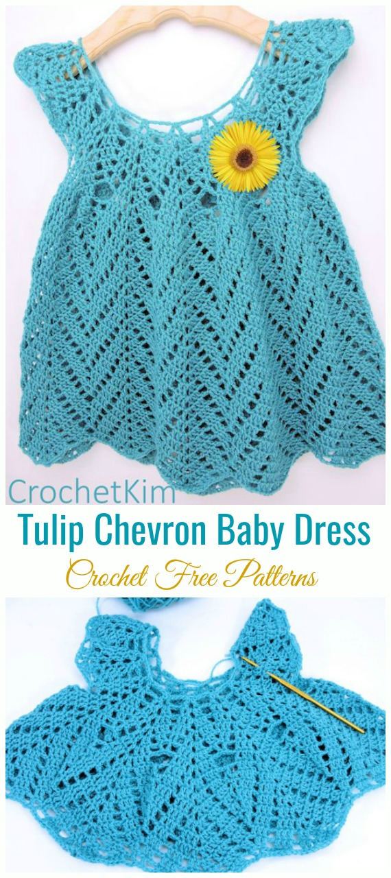 Tulip Chevron Baby Dress Crochet Free Pattern - #Crochet Girls #Dress Free Patterns
