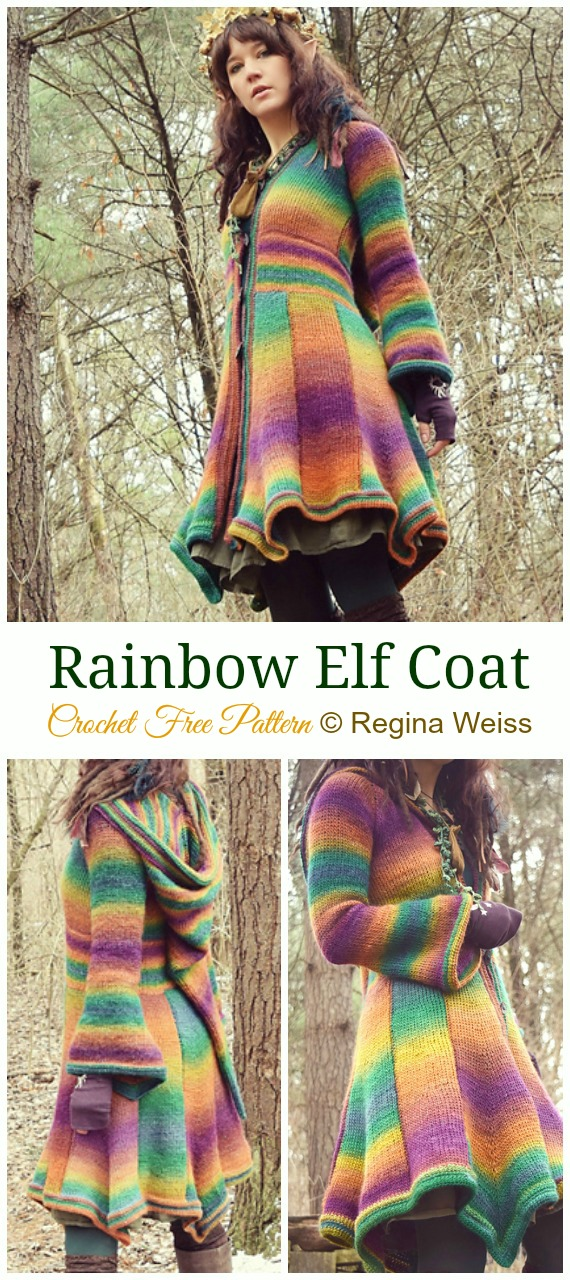 Rainbow Elf Coat Crochet Free Pattern - #Crochet; Women Sweater #Coat; Cardigan Free Patterns [Open Front]