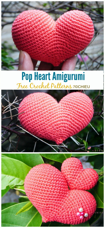 FREE crochet pattern: Little hearts. For more beautiful, beginner ... | 1240x570