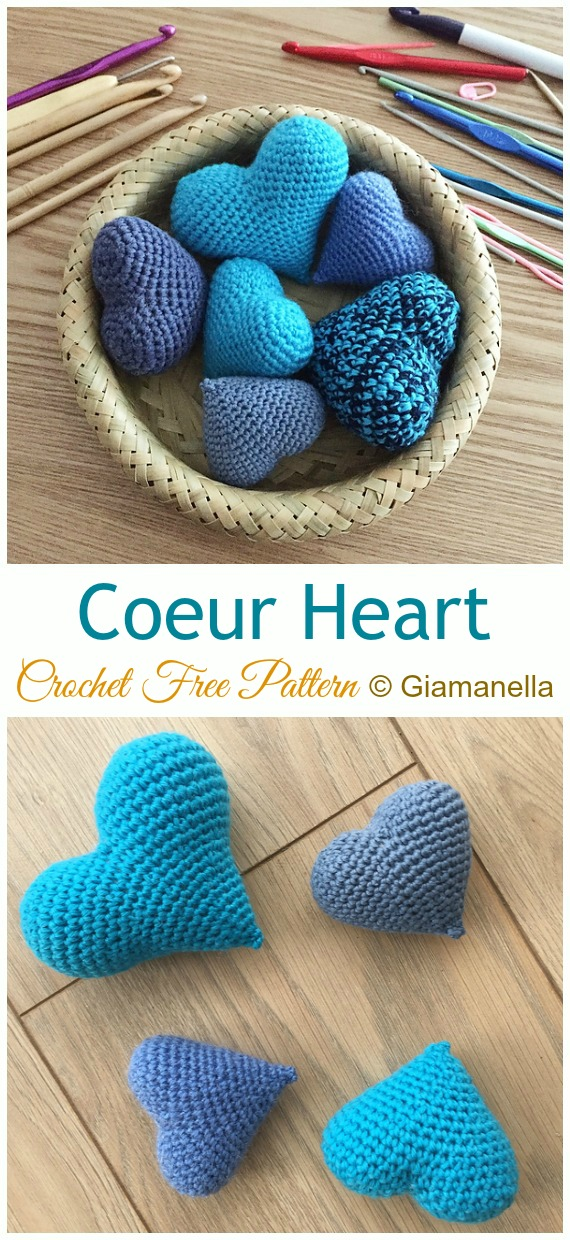 Crochet Coeur Heart Amigurumi Free Pattern - Little Puffy #Heart; Amigurumi Free #Crochet; Patterns