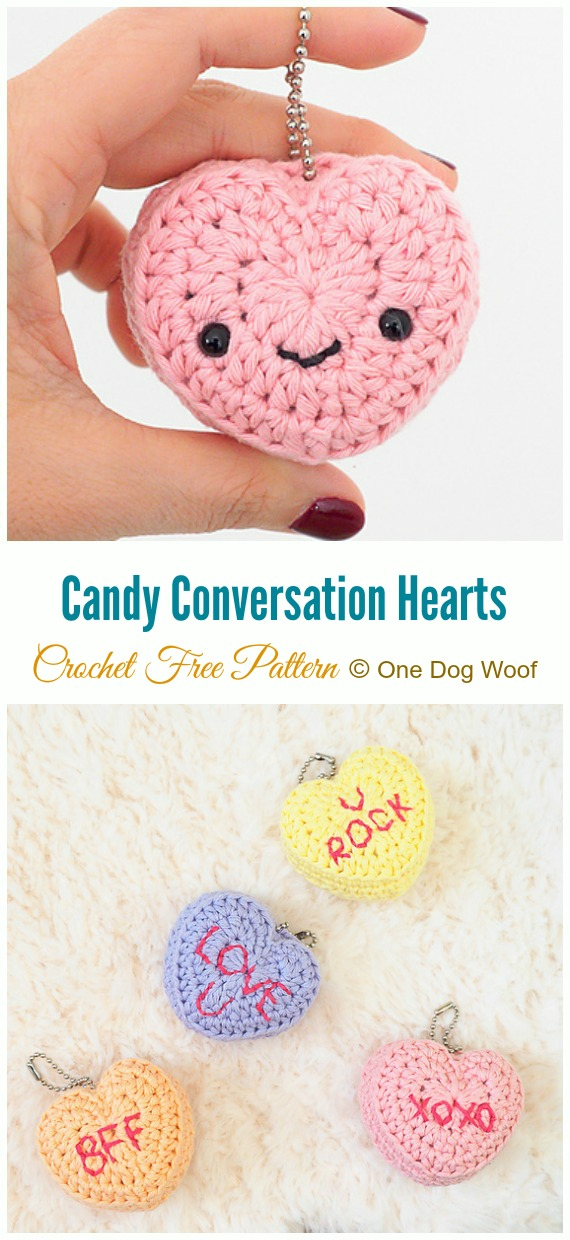 Crochet Candy Conversation Hearts Amigurumi Free Pattern - Little Puffy #Heart; Amigurumi Free #Crochet; Patterns