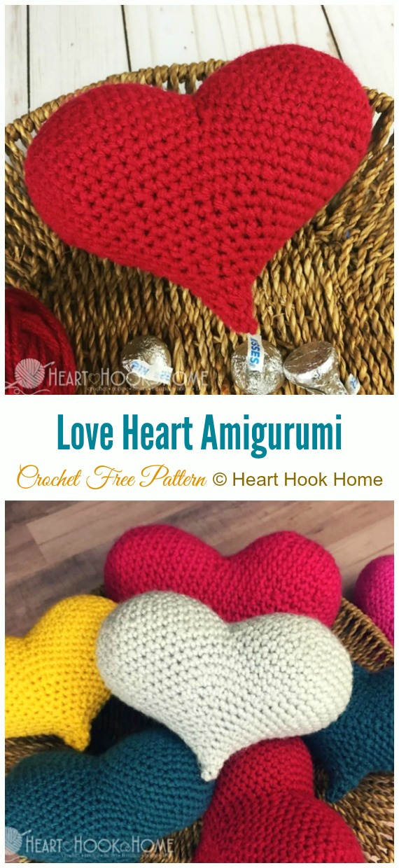 Crochet Love Heart Amigurumi Free Pattern - Little Puffy #Heart; Amigurumi Free #Crochet; Patterns