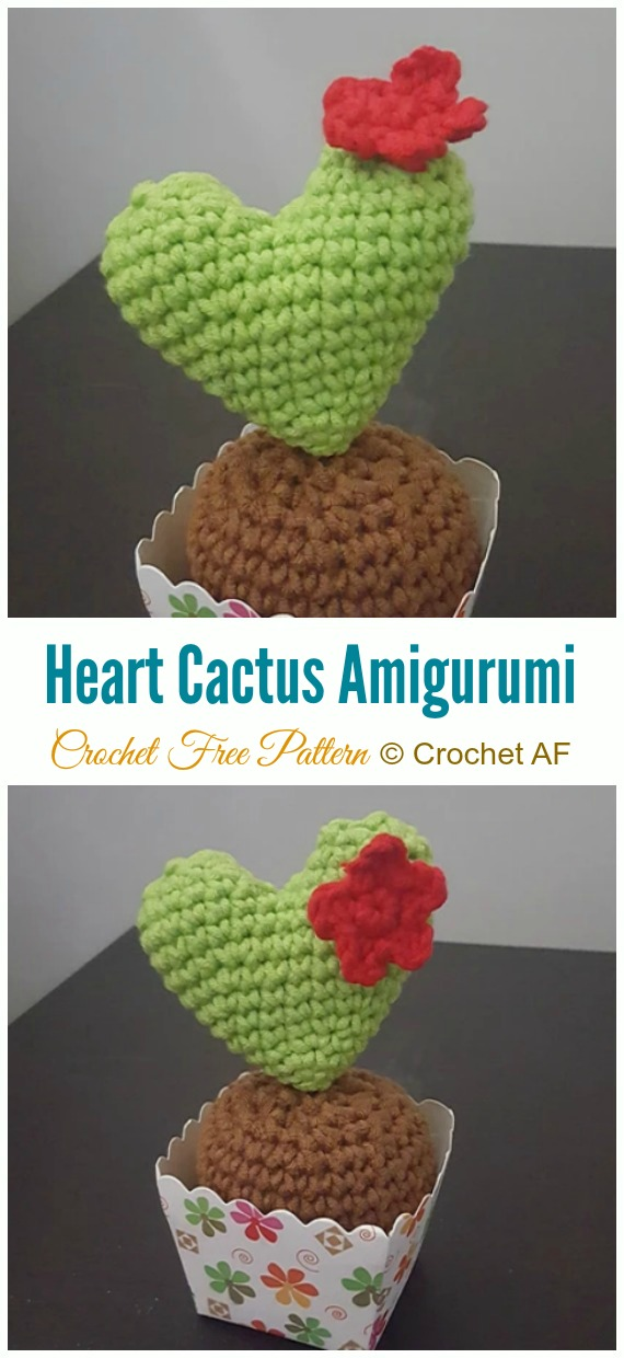 Crochet Heart Cactus Amigurumi Free Pattern - Little Puffy #Heart; Amigurumi Free #Crochet; Patterns
