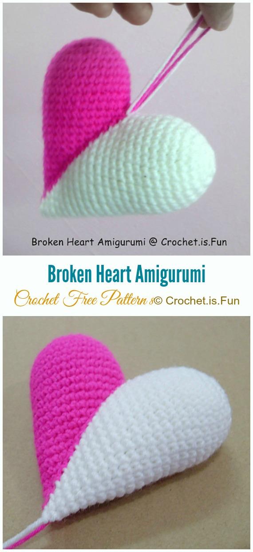 Crochet Broken Heart Amigurumi Free Pattern - Little Puffy #Heart; Amigurumi Free #Crochet; Patterns