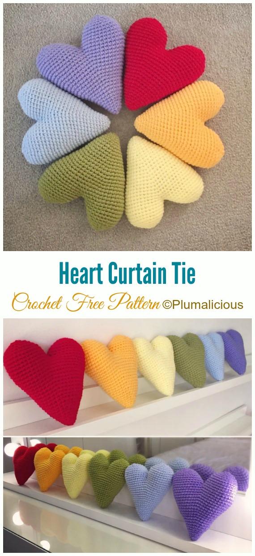 Crochet Heart Curtain Tie Amigurumi Free Pattern - Little Puffy #Heart; Amigurumi Free #Crochet; Patterns