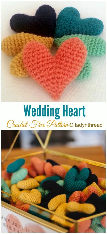 Crochet Wedding Heart Amigurumi Free Pattern - Little Puffy #Heart; Amigurumi Free #Crochet; Patterns