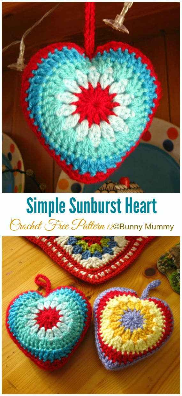 Crochet Simple Sunburst Heart Amigurumi Free Pattern - Little Puffy #Heart; Amigurumi Free #Crochet; Patterns