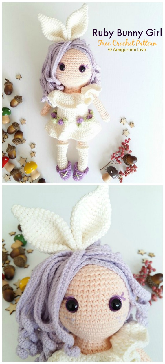 Ruby Bunny Girl Crochet Amigurumi Free Pattern - #Crochet, #Doll Toys Amigurumi Free Patterns
