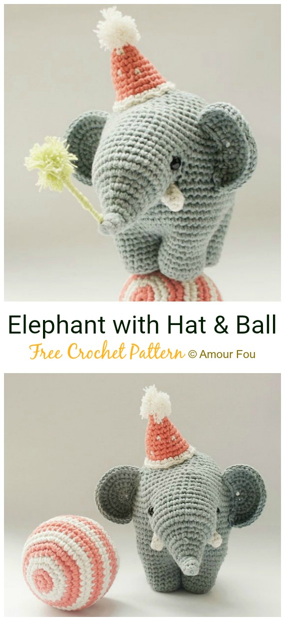 Amigurumi Elephant crocheted. Pattern. Detailed tutorial. Elephant ... | 1240x570