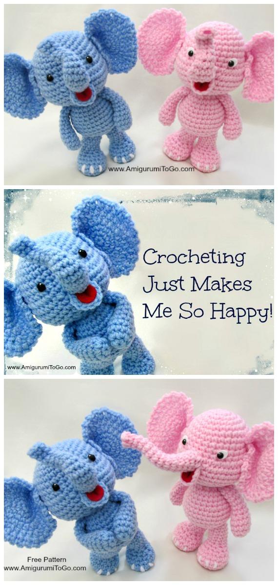 Crochet Little Bigfoot Elephant Amigurumi Free Pattern - #Crochet Amigurumi Crochet #Elephant Toy Softies Free Patterns