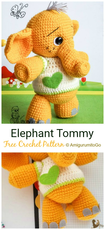 Crochet Elephant Tommy  Amigurumi Free Pattern - #Crochet Amigurumi Crochet #Elephant Toy Softies Free Patterns