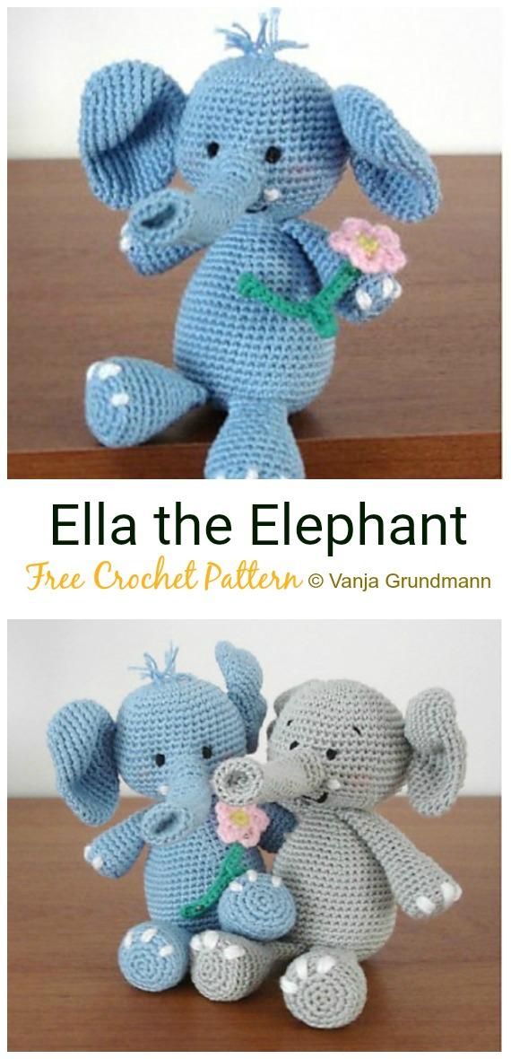 Crochet Ella the Elephant Amigurumi Free Pattern - #Crochet Amigurumi Crochet #Elephant Toy Softies Free Patterns