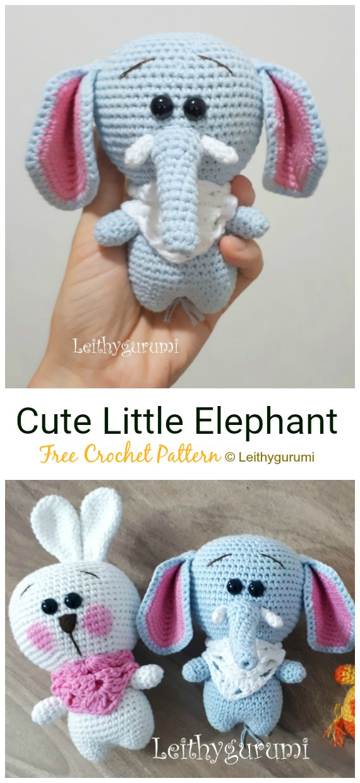 Crochet Cute Little Elephant Amigurumi Free Pattern - #Crochet Amigurumi Crochet #Elephant Toy Softies Free Patterns