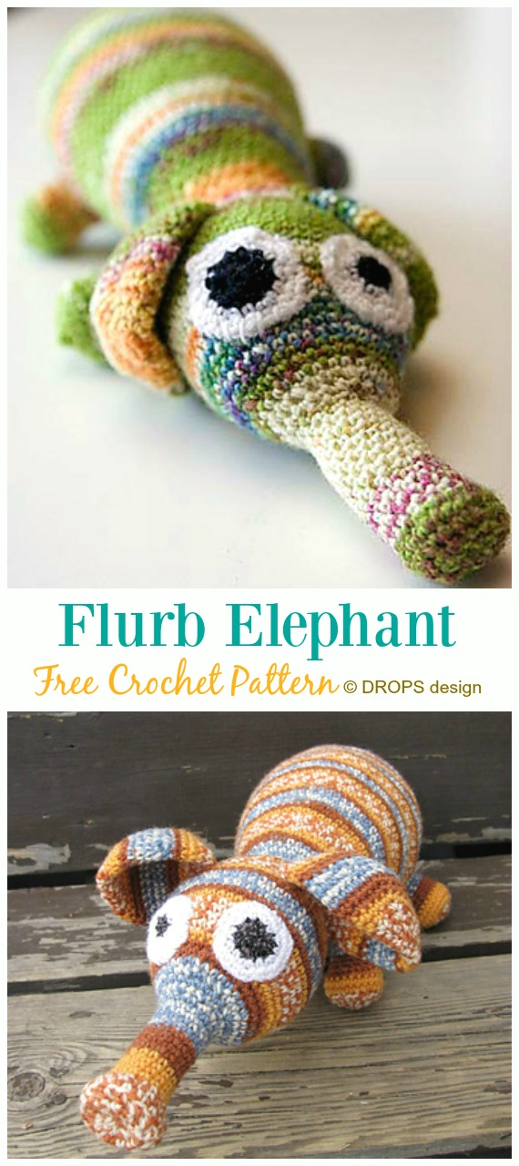 Crochet Flurb Elephant Amigurumi Free Pattern - #Crochet Amigurumi Crochet #Elephant Toy Softies Free Patterns
