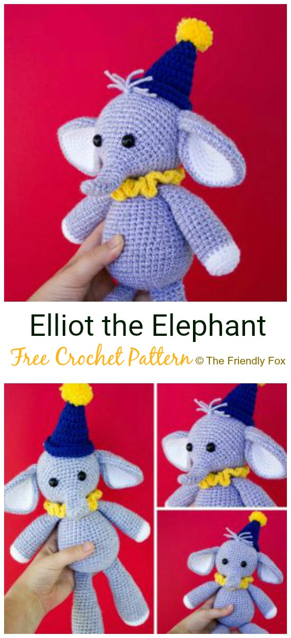 Crochet Elliot the Elephant Amigurumi Free Pattern - #Crochet Amigurumi Crochet #Elephant Toy Softies Free Patterns