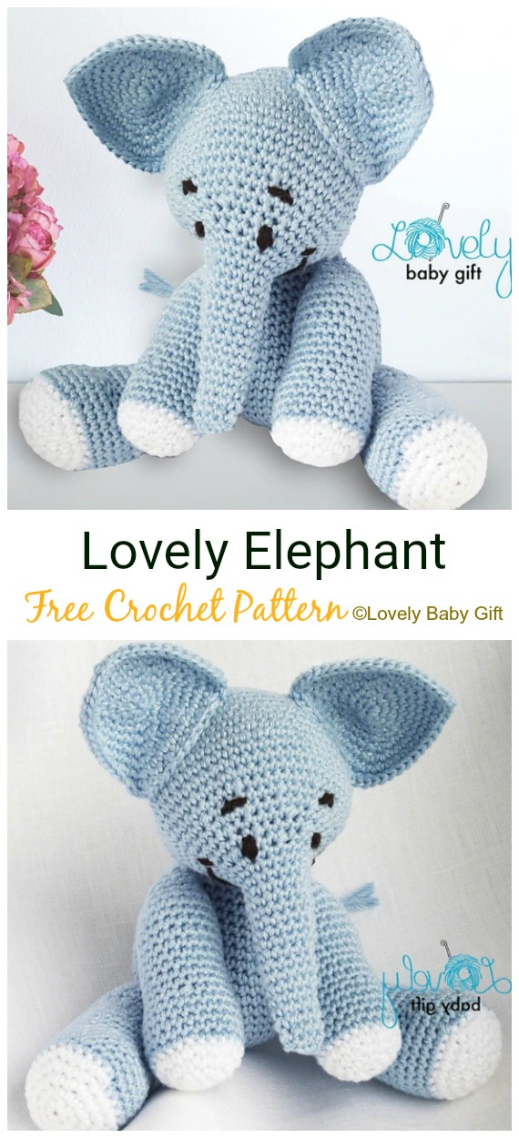 Crochet Lovely Elephant Amigurumi Free Pattern - #Crochet Amigurumi Crochet #Elephant Toy Softies Free Patterns