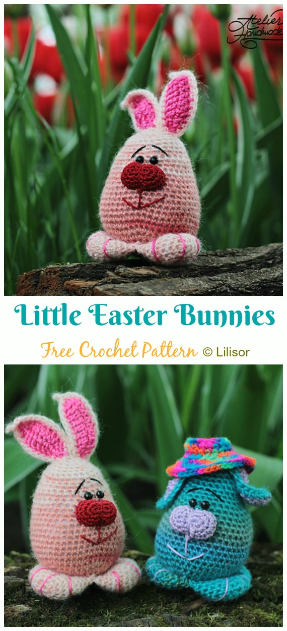 Colorful Easter Bunnies Amigurum Crochet Free Pattern - #Crochet; Amigurumi #Bunny; Toy Softies Free Patterns