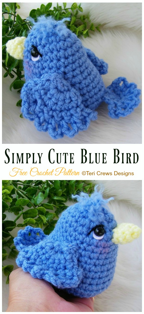 Simply Cute Blue Bird Amigurumi Free Crochet Pattern - Crochet #Bird; #Amigurumi Free Patterns