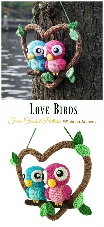 Love Birds Amigurumi Free Crochet Pattern - Crochet #Bird; #Amigurumi Free Patterns
