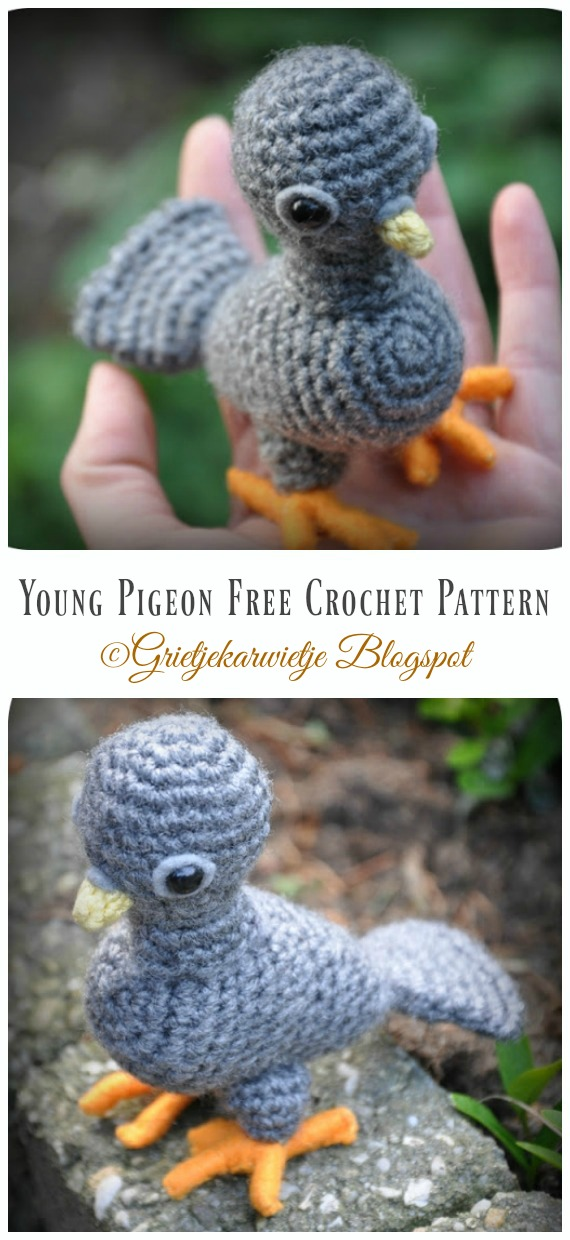 Young Pigeon Amigurumi Free Crochet Pattern - Crochet #Bird; #Amigurumi Free Patterns