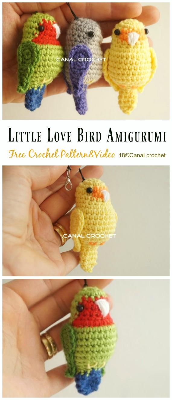 Little Love Bird Amigurumi Free Crochet Pattern - Crochet #Bird; #Amigurumi Free Patterns