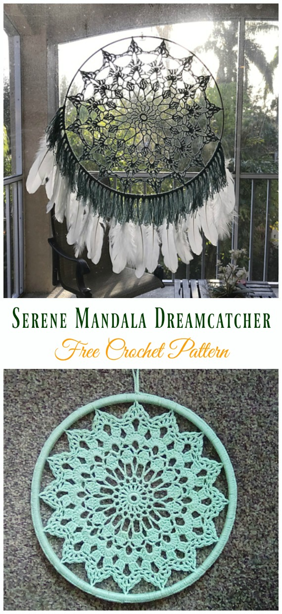 Serene Mandala Dreamcatcher Crochet Free Pattern - #Crochet #DreamCatcher Free Patterns