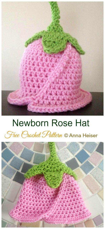 Newborn Rose Hat Crochet Free Pattern- #Crochet ; Girls Flower #SunHat Free Patterns