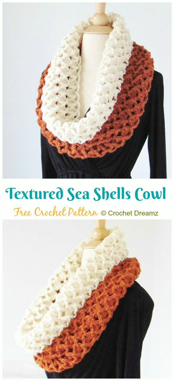 Textured Sea Shells Cowl Crochet Free Pattern - #Crochet #Cowl & Infinity Scarf Free Patterns