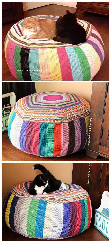 Pouf of Many Colors Crochet Free Pattern - #Crochet; Poufs & #Ottoman; Free Patterns