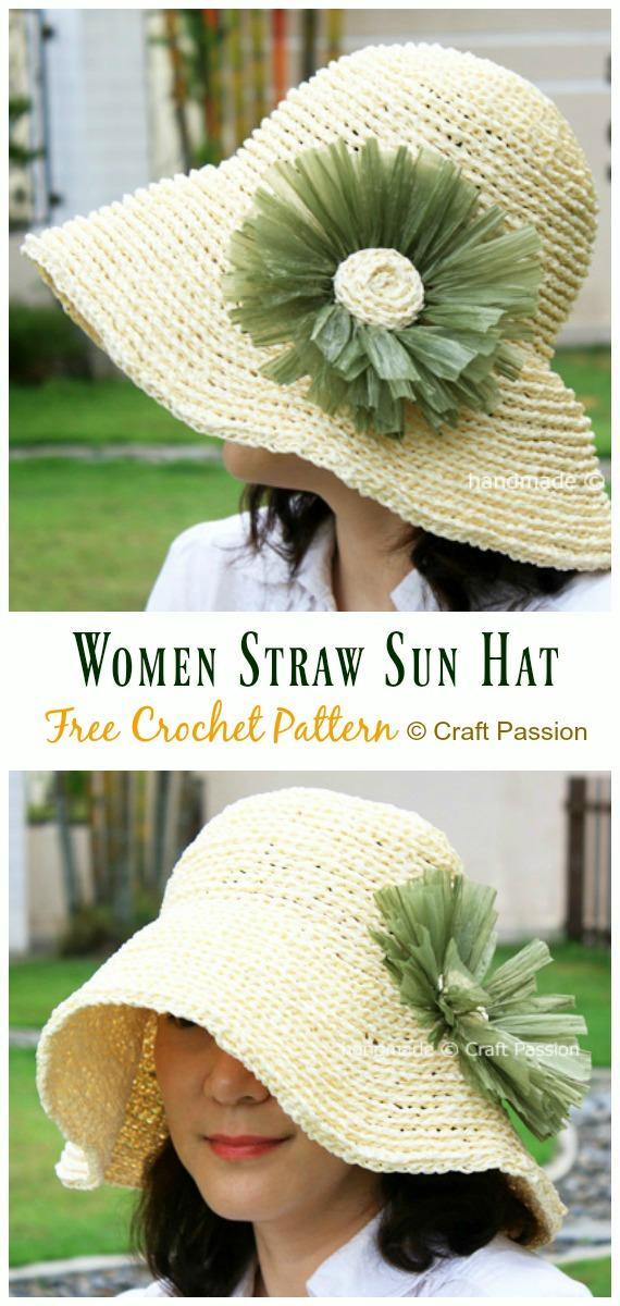 Women Straw Sun Hat Crochet Free Pattern - Women #SunHat; Free #Crochet; Patterns