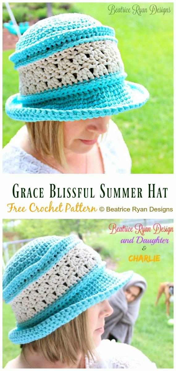 Women Grace Blissful Summer Hat Crochet Free Pattern - Women #SunHat; Free #Crochet; Patterns
