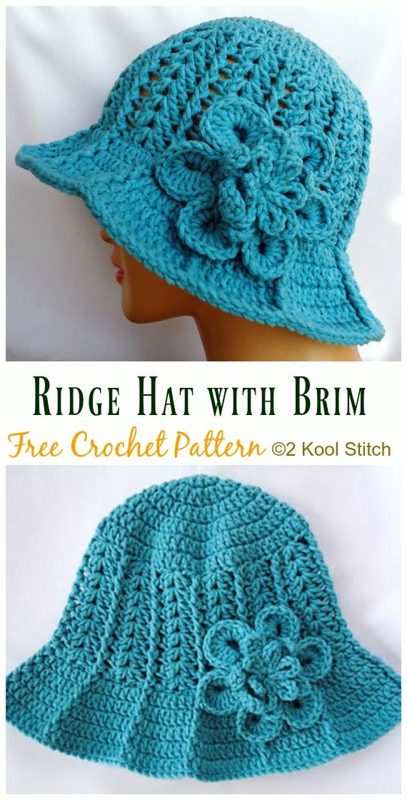Ridge Hat with Brim Crochet Free Pattern - Women #SunHat; Free #Crochet; Patterns