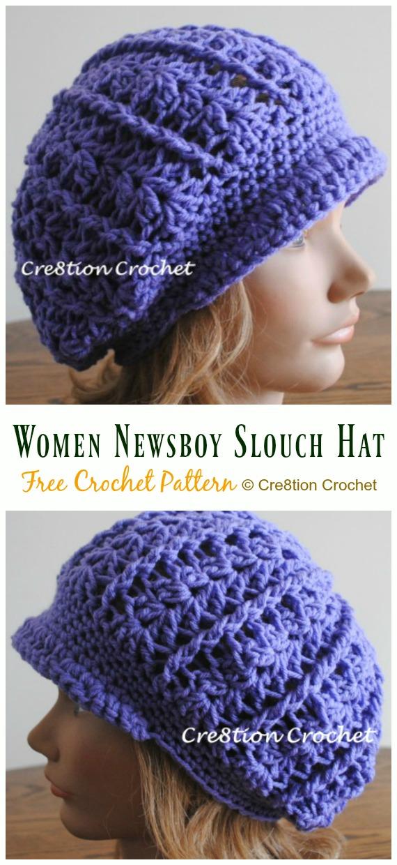 Women Newsboy Slouch Hat Crochet Free Pattern - Women #SunHat; Free #Crochet; Patterns