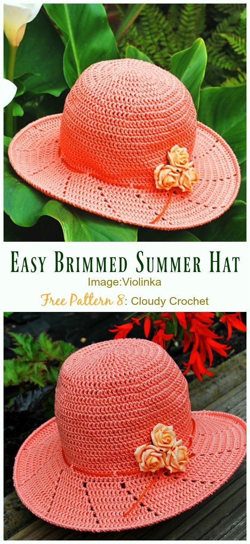 Easy Fast Brimmed Summer Hat Crochet Free Pattern - Women #SunHat; Free #Crochet; Patterns