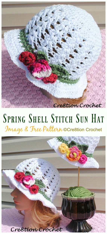 Spring Shell Stitch Sun Hat Crochet Free Pattern - Women #SunHat; Free #Crochet; Patterns