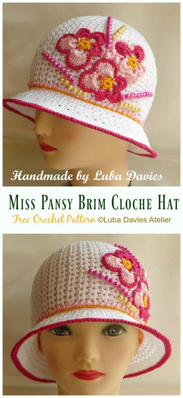 Miss Pansy Brim Cloche Sun Hat Crochet Free Pattern - Women #SunHat; Free #Crochet; Patterns