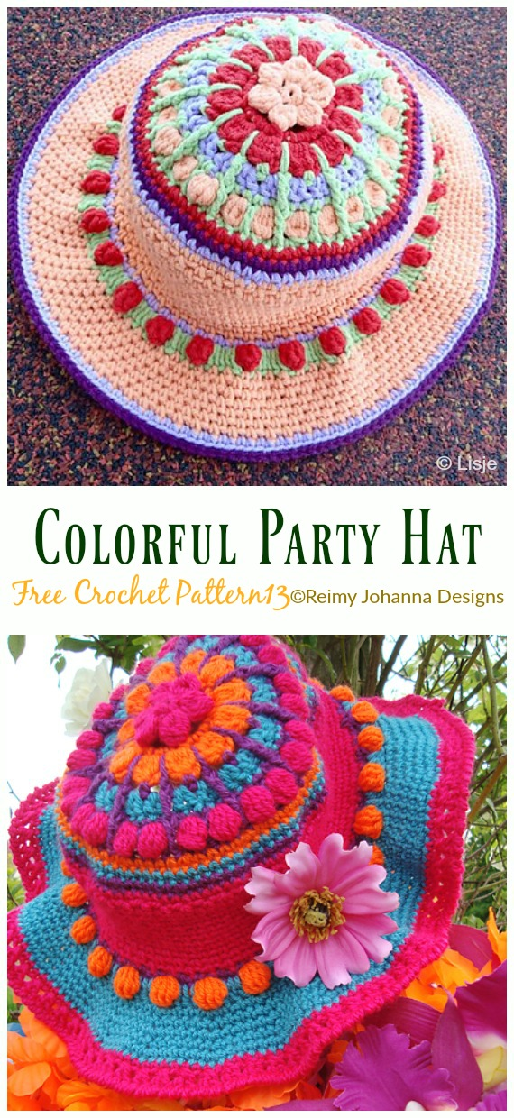 Colorful Party Hat Crochet Free Pattern - Women #SunHat; Free #Crochet; Patterns