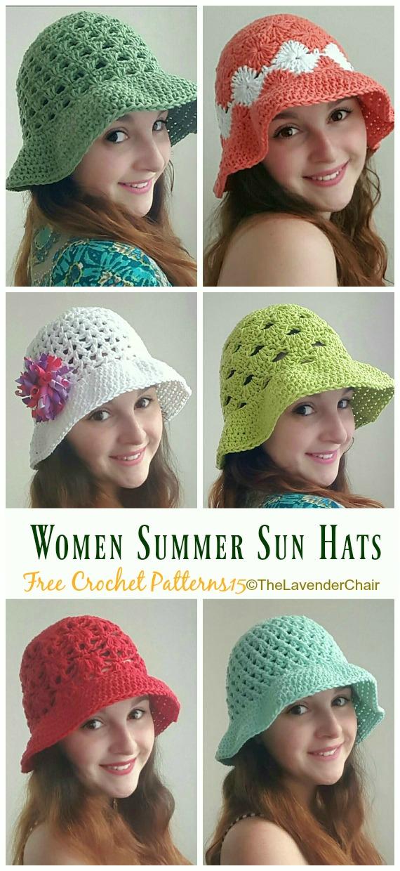 Women Summer Sun Hat Crochet Free Pattern - Women #SunHat; Free #Crochet; Patterns