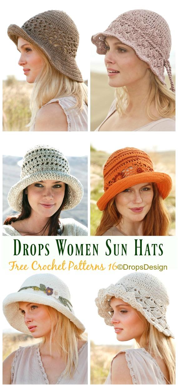 Drops Women Sun Hat Crochet Free Patterns - Women #SunHat; Free #Crochet; Patterns