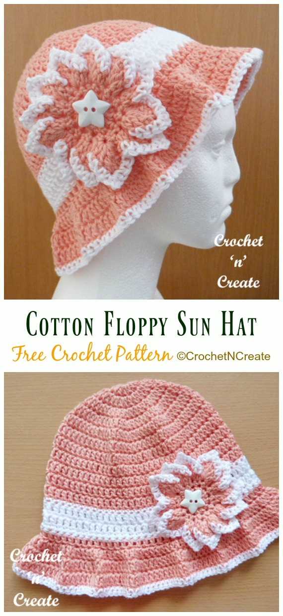 Cotton Floppy Sun Hat Crochet Free Pattern - Women #SunHat; Free #Crochet; Patterns