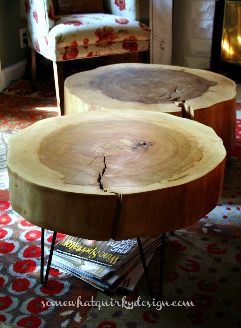 DIY Tree Log Round Table Instructions - Raw Wood Logs and Stumps DIY Ideas Projects