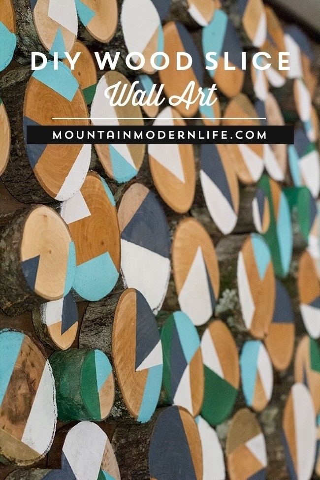 DIY Wood Slice Art Wall Panel Instructions - Raw Wood Logs and Stumps DIY Ideas Projects