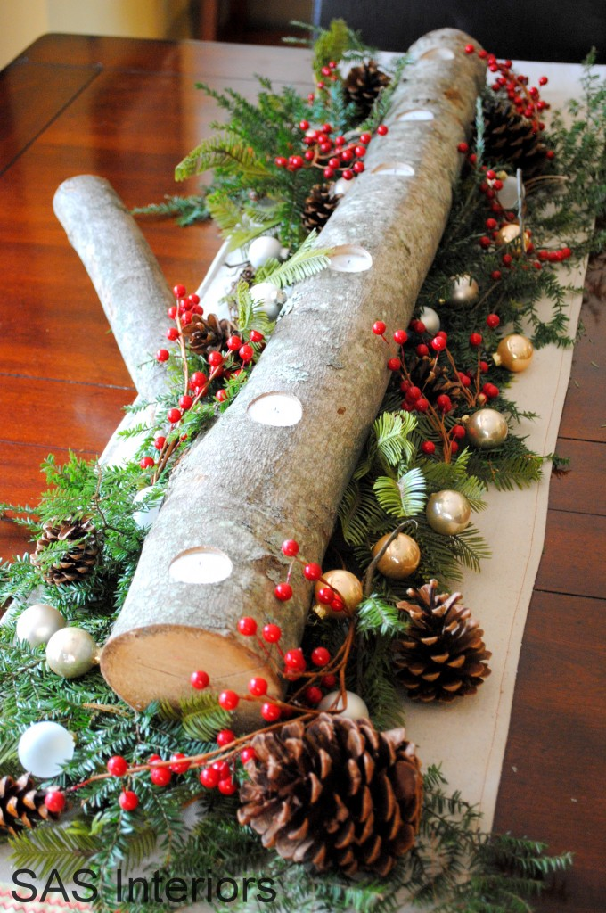 DIY Holiday Wood Log CenterpieceInstructions - Raw Wood Logs and Stumps DIY Ideas Projects