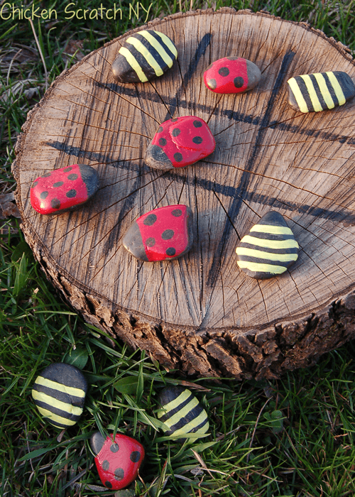 DIY Wood Log Spring Time Tic-Tac-Toe Instructions - Raw Wood Logs and Stumps DIY Ideas Projects
