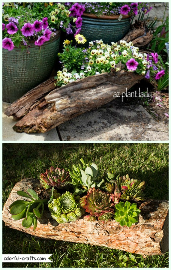 DIY Hollowed Wood Log Planter Instructions - Raw Wood Logs and Stumps DIY Ideas Projects