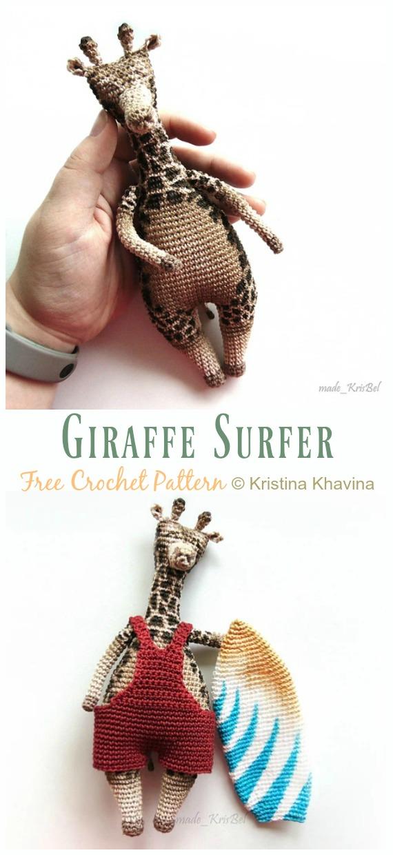 Giraffe Surfer Crochet Amigurumi Free Pattern - #Amigurumi; #Giraffe; Toy Free Crochet Patterns