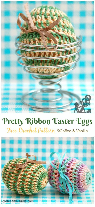 Pretty Ribbon Easter Egg Cozy Crochet Free Pattern - #Crochet; #Easter; Egg Cozy Cover & Holder Free Patterns